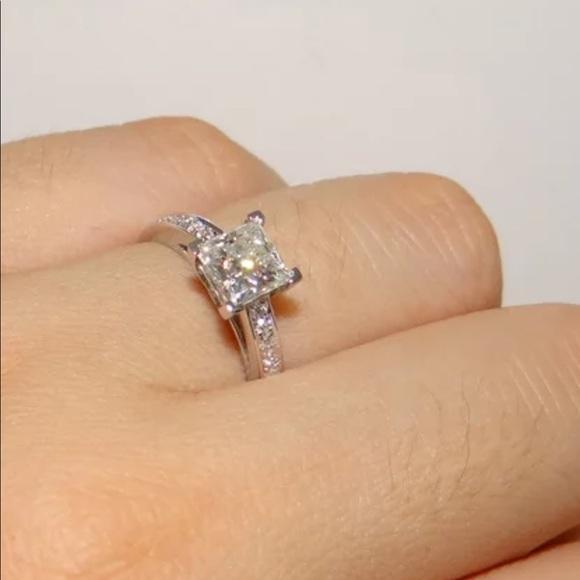 14K' White Princess Square Diamond Engagement Ring